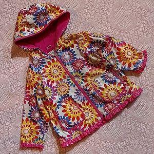 Oshkosh B'gosh Girls Rain Coat Flowers size 4 EUC